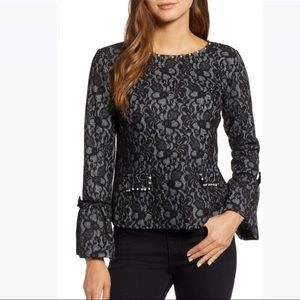 Mark Lagerfeld Paris / Lace Bell Sleeve Pearl S